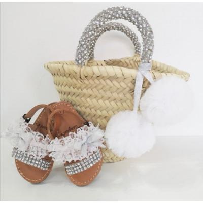 Σετ σανδάλια με ψάθινη τσάντα